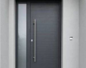 Photo porte mixte : Ligne contemporaine Horizon Mixte Alu Bois